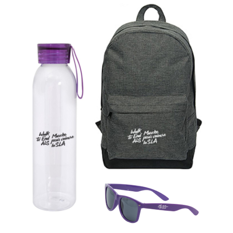 Water bottle, Backpack and Sunglasses